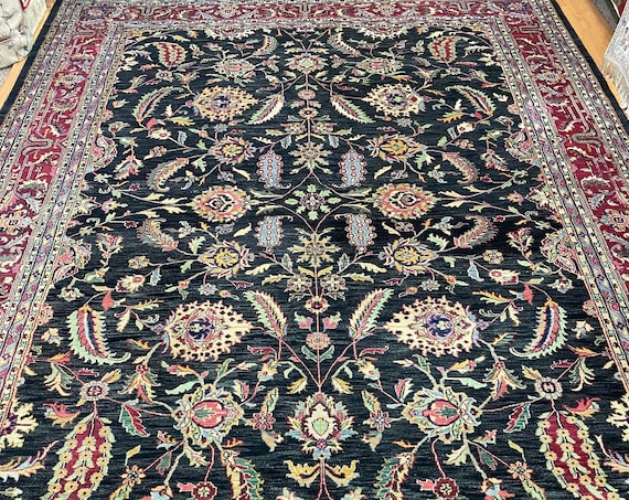 "9'9"" x 13'10"" Indian Agra Oriental Rug - Full Pile - Hand Made - 100% Wool"