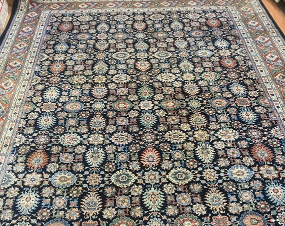 "9'10"" x 13'9"" Indian Agra Oriental Rug - Full Pile - Hand Made - 100% Wool"