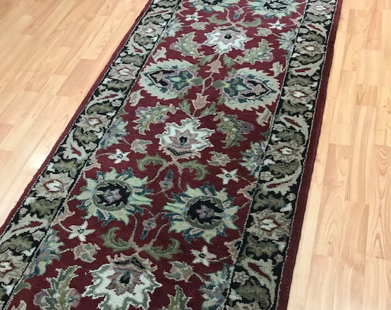"2'6"" x 8' Indian Kashan Floor Runner Oriental Rug - Hand Made - 100% Wool"