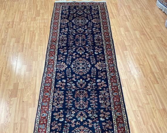 "2'9"" x 9'9"" Indian Sarouk Floor Runner Oriental Rug - Hand Made - 100% Wool"