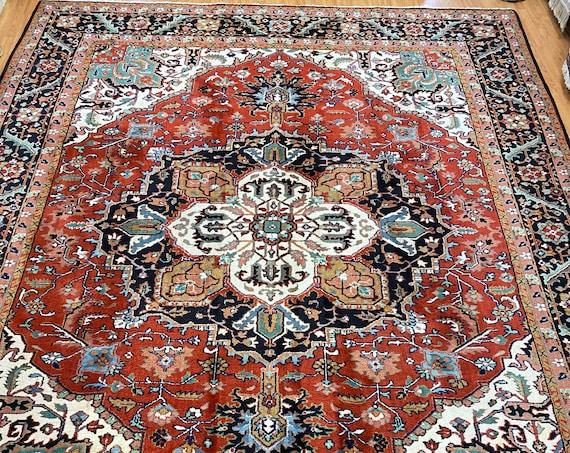 9' x 12' Indian Her iz Design Oriental Rug - Full Pile - Hand Made - 100% Wool