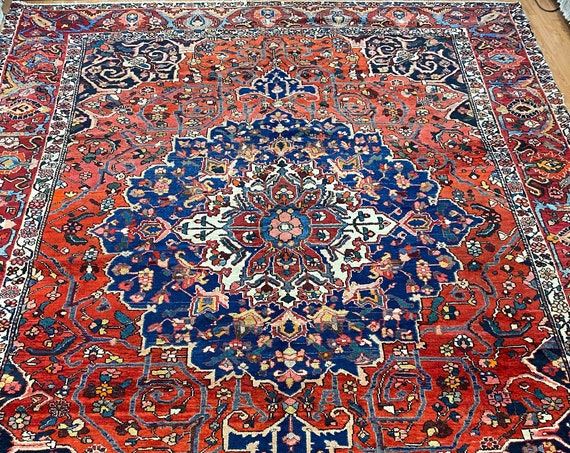 """9'4"""" x 12' Antique Indian Oriental Rug - 1930s - Hand Made - 100% Wool"""