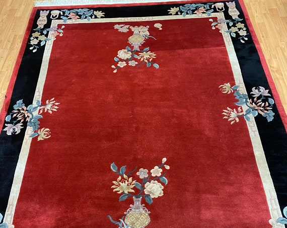 "5'6"" x 7'9"" Chinese Art Deco Oriental Rug - Full Pile - Hand Made - 100% Wool"