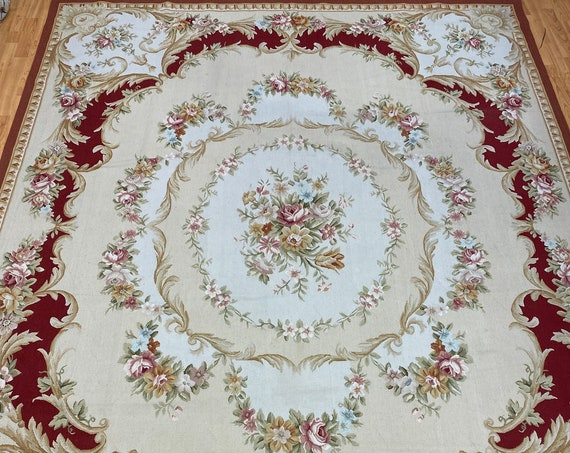 """8' x 10'3"""" Chinese Aubusson Oriental Rug - Flat Weave - Hand Made - 100% Wool"""
