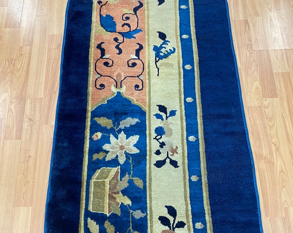 "2'3"" x 4'5"" Antique Chinese Art Deco Oriental Rug - 1920s - Hand Made - 100% Wool"