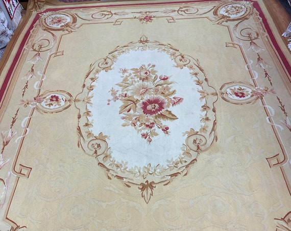 """10' x 13'8"""" Chinese Aubusson Oriental Rug - Flat Weave - Hand Made - 100% Wool"""