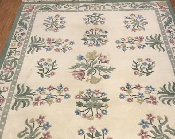 "7'5"" x 9'5"" Chinese Art Deco Oriental Rug - Full Pile - Hand Made - 100% Wool"