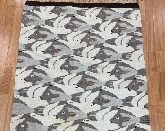 "3'1"" x 4'6"" Native American Navajo Flat Weave Oriental Rug - Kilim - Hand Made"