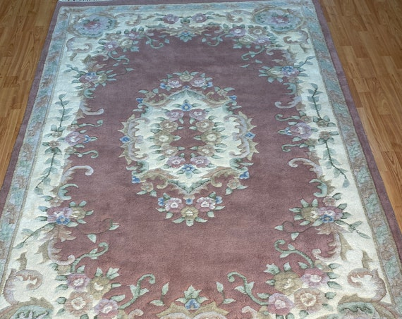 """5'4"""" x 8' Chinese Aubusson Oriental Rug - Full Pile - Hand Made - 100% Wool"""