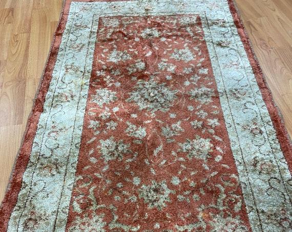 "2' x 3'6"" Belgian Floral Design Oriental Rug - 100% Silk - Full Pile"