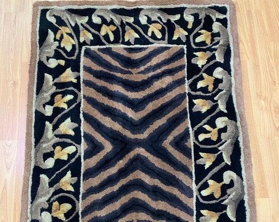 2' x 3' Chinese Art Deco Oriental Rug - Full Pile - Hand Made - 100% Wool