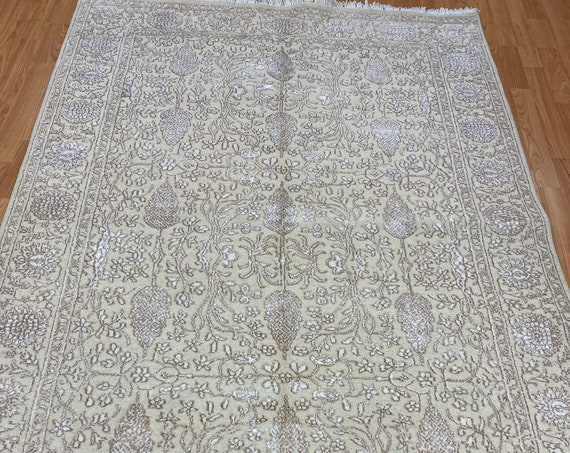 4' x 6' Indian Tree of Life Oriental Rug - Very Fine - Hand Made - Wool & Silk