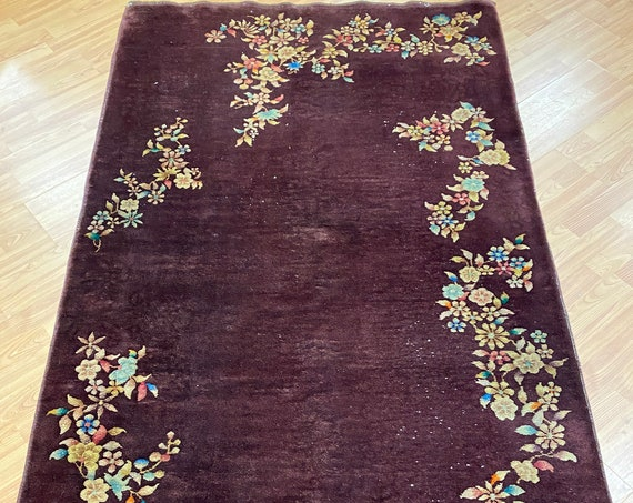"3'10"" x 6'10"" Chinese Art Deco Oriental Rug - Full Pile - Hand Made - 100% Wool"