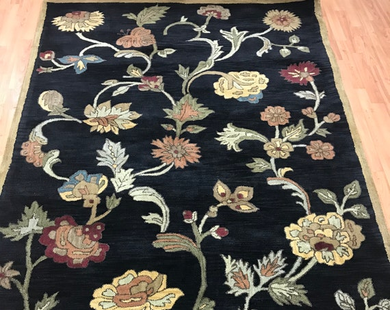 "5'6"" x 8'6"" Indian Tufted Floral Oriental Rug - Hand Made - 100% Wool"