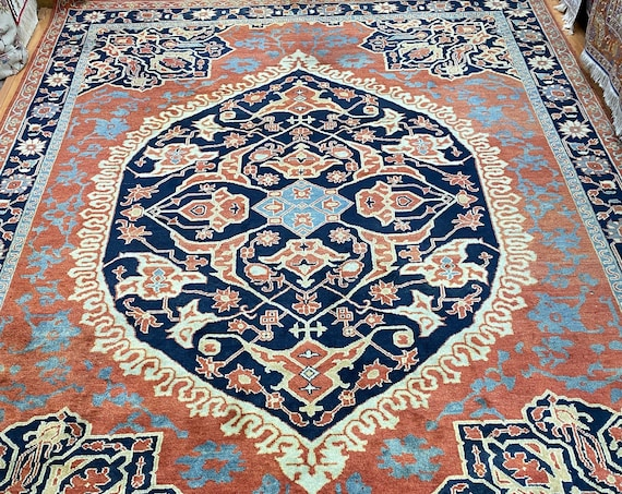 10' x 14' Indian Sarapi Design Oriental Rug - Full Pile - Hand Made - 100% Wool
