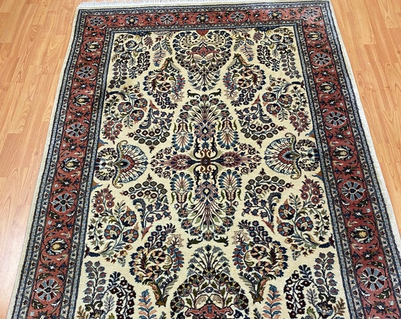 "4'2"" x 6'6"" Pakistani Sarouk Oriental Rug - Very Fine - Hand Made - 100% Wool"