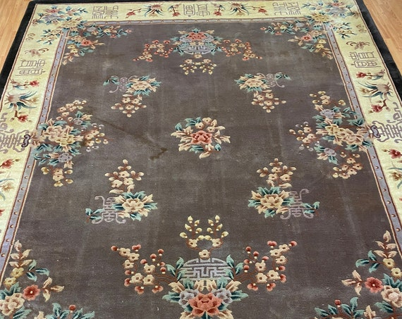 8' x 10' Chinese Aubusson Oriental Rug - Full Pile - Hand Made - 100% Wool