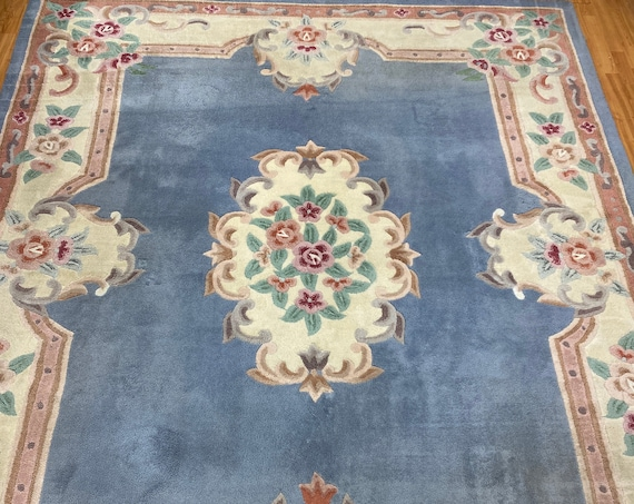 8' x 10' Chinese Aubusson Oriental Rug - Full Pile - Hand Tufted - 100% Wool