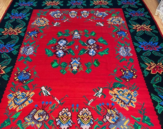 "8'8"" x 11'8"" Turkish Bessarabian Kilim Oriental Rug - Flat Weave - Hand Made - 100% Wool"