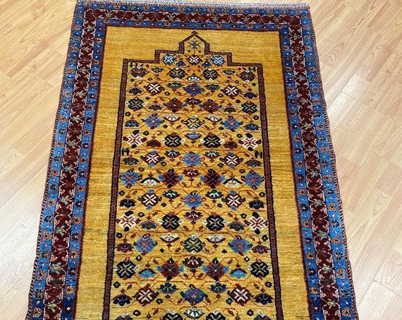 "2'10"" x 5' New Indian Tribal Oriental Rug - 100% Wool - Hand Made - Vegetable Dye"