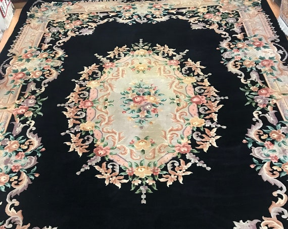 """9'6"""" x 14' Chinese Aubusson Oriental Rug - 1980s - Hand Made - 100% Wool"""