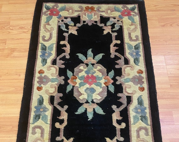 """2'1"""" x 3'6"""" Chinese Aubusson Oriental Rug - Full Pile - Hand Made - 100% Wool"""