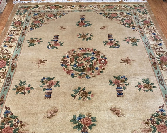 """8'5"""" x 11'6"""" Chinese Aubusson Oriental Rug - Full Pile - Hand Made - 100% Wool"""