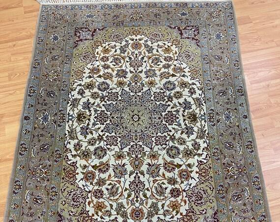 "3'7"" x 5' Turkish Oriental Rug - Very Fine - Over 500 KPSI - Wool and Silk"