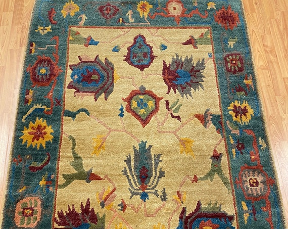 "4'2"" x 6' Nepal Tofangiyan Collection Oriental Rug - Full Pile - Hand Made - 100% Wool"