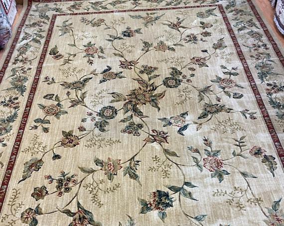 "9'8"" x 13'6"" Belgian Couristan Floral Design Oriental Rug - 100% Wool Full Pile"