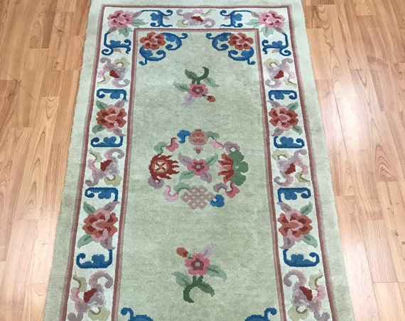 "2'4"" x 4'7"" Chinese Aubusson Oriental Rug - Full Pile - Hand Made - 100% Wool"