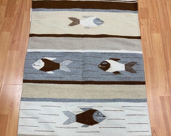 "2'3"" x 4' Native American Navajo Flat Weave Oriental Rug - Kilim - Hand Made"