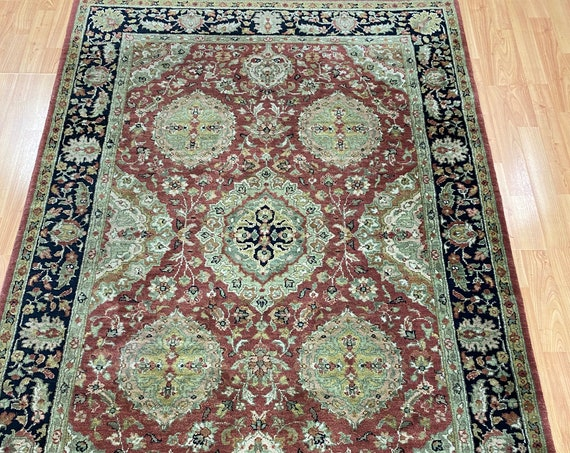 4' x 6' Indian Agra Oriental Rug - Full Pile - Hand Made - 100% Wool