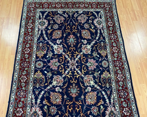 "3'9"" x 6'3"" New Indian Kashan Oriental Rug - Dark Blue - Hand Made - 100% Wool"