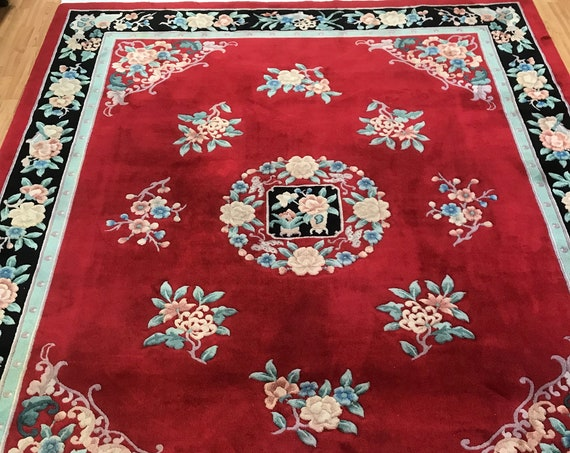 "7'8"" x 10' Chinese Aubusson Oriental Rug - Full Pile - Hand Made - 100% Wool"