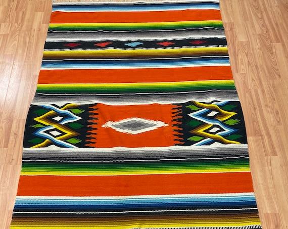 "3'7"" x 6'4"" Native American Navajo Flat Weave Oriental Rug - Kilim - Hand Made"