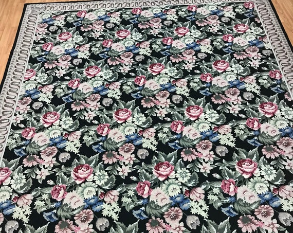 """7'10"""" x 9'10"""" Chinese Needle Point Oriental Rug - Hand Made - 100% Wool"""