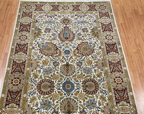 "4'6"" x 7'4"" Pakistani Tabriz Oriental Rug - Full Pile - Hand Made - 100% Wool"