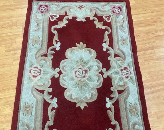 3' x 5' Chinese Aubusson Oriental Rug - Full Pile - Hand Tufted - 100% Wool