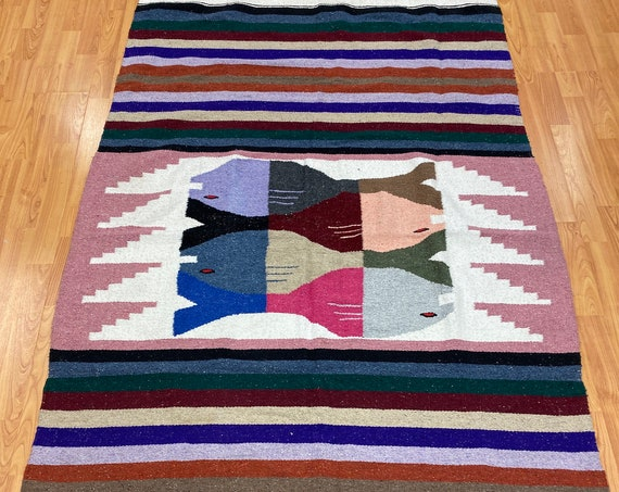 "3'10"" x 6'8"" Traditional Mexican Flat Weave Rug - Hand Made - 100% Wool"