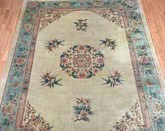 "5'6"" x 8' Chinese Art Deco Oriental Rug - Full Pile - Hand Made - 100% Wool"