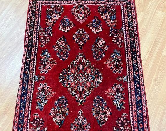 "2'3"" x 3'8"" Antique Turkish Oriental Rug - 1930s - Hand Made - Full Pile"