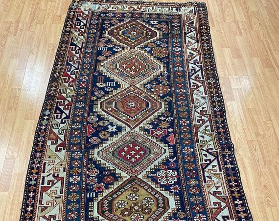 """3'8"""" x 7'8"""" Russian Kazak Oriental Rug - 1880s - Hand Made - 100% Wool"""