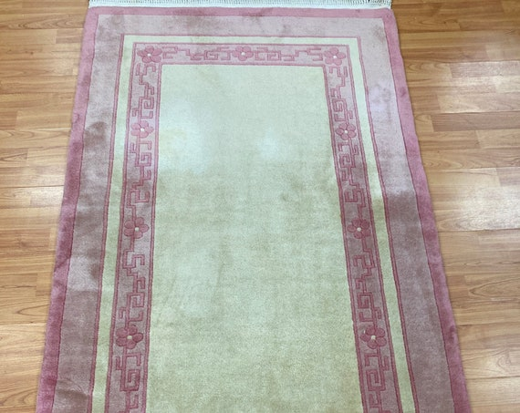 "3' x 5'6"" Chinese Art Deco Oriental Rug - Full Pile - Hand Made - 100% Wool"