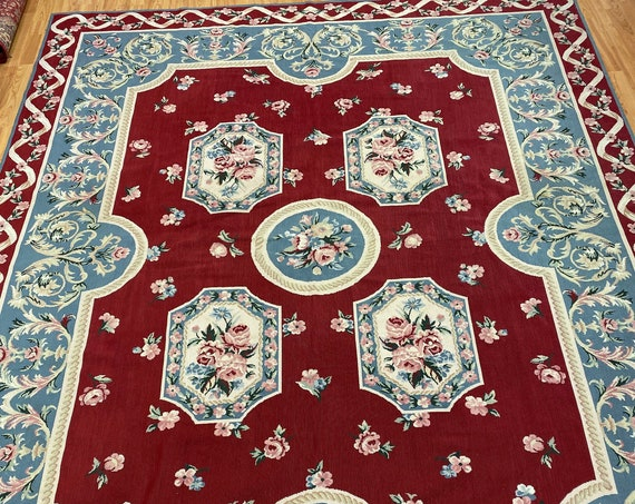 "7'9"" x 9'9"" Chinese Aubusson Needle Point Oriental Rug - Hand Made - 100% Wool"