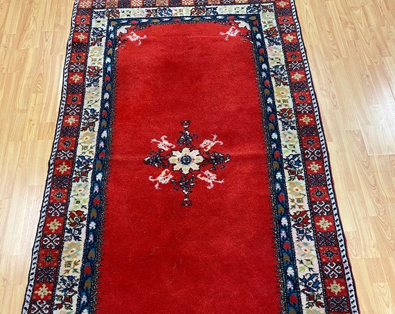 "3'9"" x 6'9"" Moroccan Gabbeh Oriental Rug - Full Pile - Hand Made - 100% Wool"