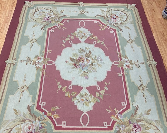 "6'8"" x 8'8"" Antique Chinese Aubusson Oriental Rug - 1930s - Hand Made - 100% Wool"