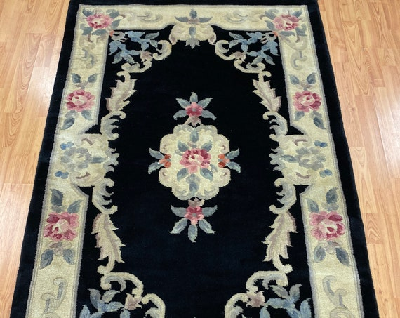 """3'6"""" x 5'6"""" Chinese Aubusson Oriental Rug - Full Pile - Hand Made - 100% Wool"""