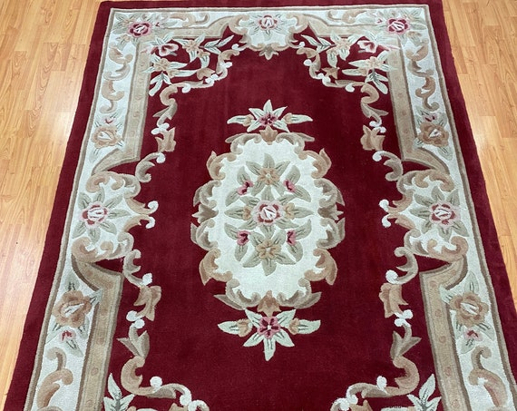 5' x 8' Chinese Aubusson Oriental Rug - Full Pile - Hand Tufted - 100% Wool