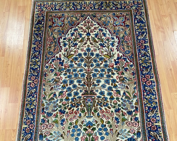 "3'1"" x 4'10"" New Indian Floral Oriental Rug - Hand Made - 100% Wool"